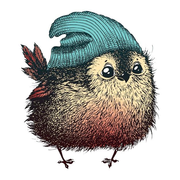 Der vogel im hut Premium Vektoren
