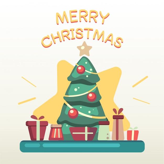 Der weihnachtsbaum mit einem stapel der geschenkbox und des textes der frohen weihnachten Premium Vektoren