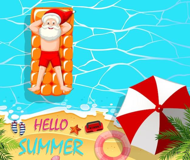 Der weihnachtsmann entspannt sich im pool-sommerthema Kostenlosen Vektoren