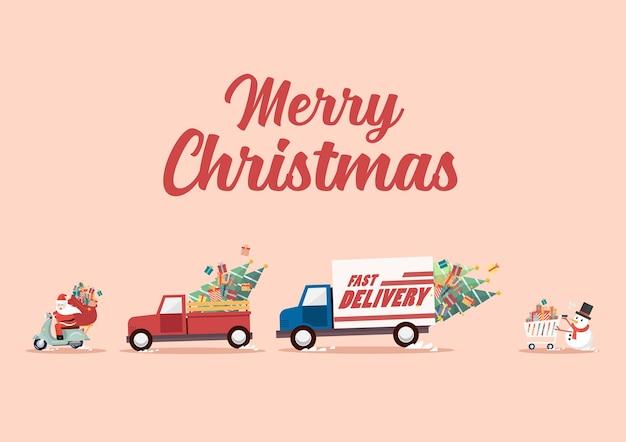 Der weihnachtsmann fährt motorrad, gefolgt von lastwagen und schneemann, der einen einkaufswagen schiebt Premium Vektoren