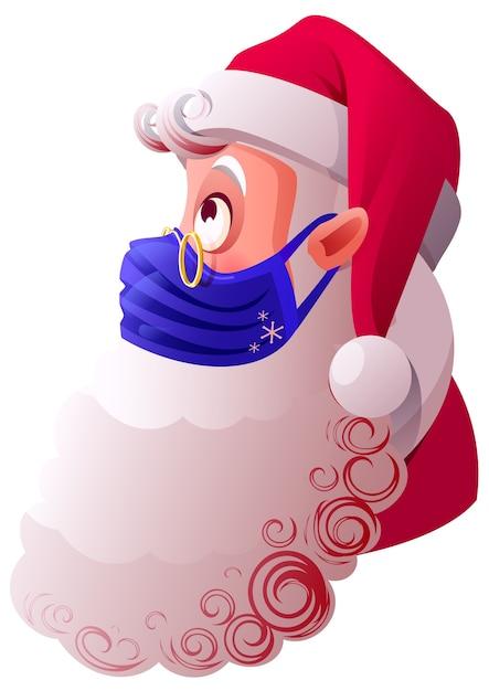 Der weihnachtsmann in blauer medizinischer maske ist vor viren geschützt. isoliert auf weißer karikaturillustration Premium Vektoren