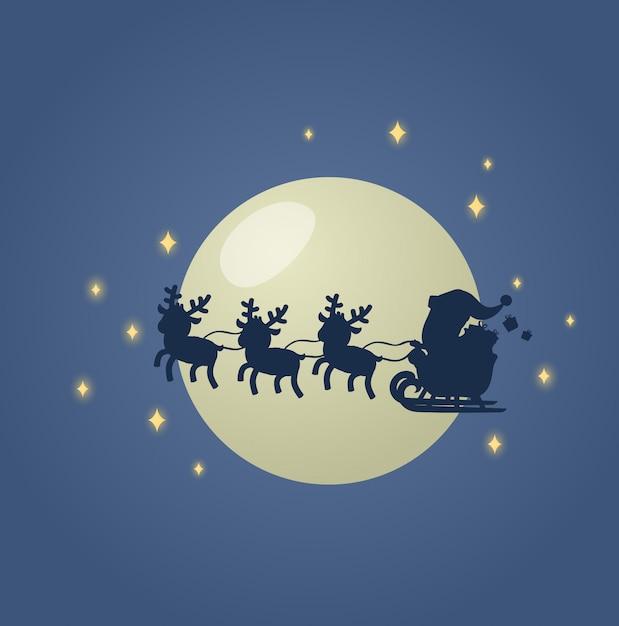 Der weihnachtsmann in seinem weihnachtsschlittenschlitten mit seinen rentieren über den mondhellen nachthimmel. illustration. auf weißem hintergrund. Premium Vektoren