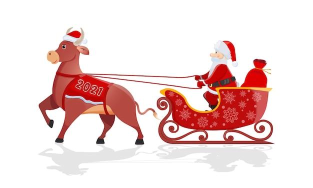 Der weihnachtsmann mit der roten tasche reitet auf einem großen bullenschlitten Premium Vektoren