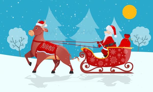 Der weihnachtsmann mit roter tasche reitet großen weihnachtsschlitten an weihnachten auf winternatur. Premium Vektoren