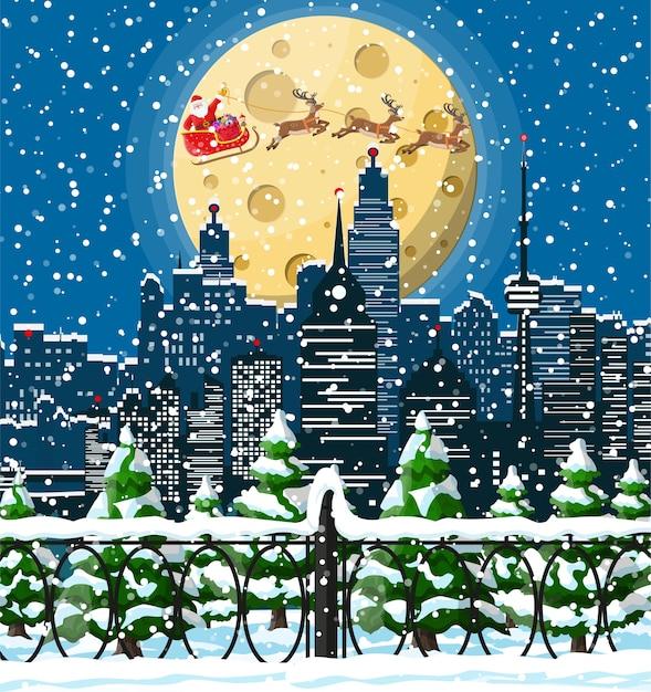 Der weihnachtsmann reitet auf einem rentierschlitten. weihnachtswinterstadtbild, schneeflocken und bäume. Premium Vektoren
