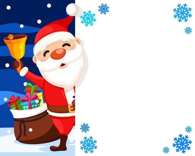Der weihnachtsmann schwenkt eine glocke hinter einem weißen schild hervor, einem ort für text. weihnachtsbanner Premium Vektoren
