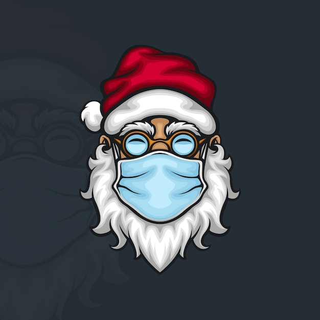 Der weihnachtsmann trägt eine gesichtsmaske, um die ausbreitung des covid 19 coronavirus zu verhindern Premium Vektoren