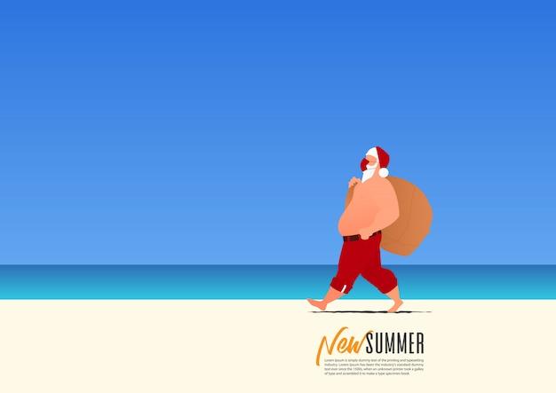 Der weihnachtsmann trägt eine maske für die sicherheit und eine geschenktüte, die während der neuen sommerferien am strand spazieren geht. neue normalität für den urlaub nach coronavirus Premium Vektoren
