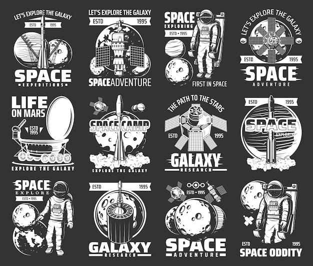 Der weltraum erforscht monochrom. astronaut, space shuttle und satelliten kosmos erforschen retro-labels Premium Vektoren