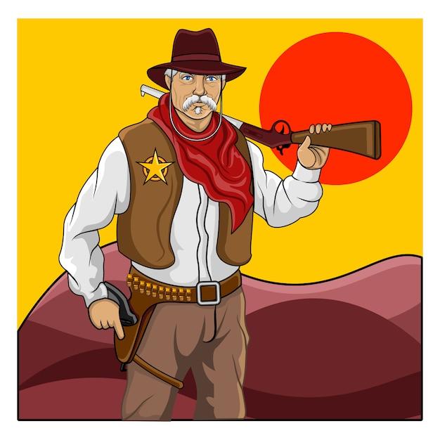 Der wildwest sheriff Premium Vektoren