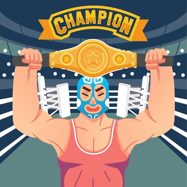 Der wrestler hebt den siegesgürtel im ring mit dem championbrief über der abbildung. wird für poster, webbilder und andere verwendet Premium Vektoren