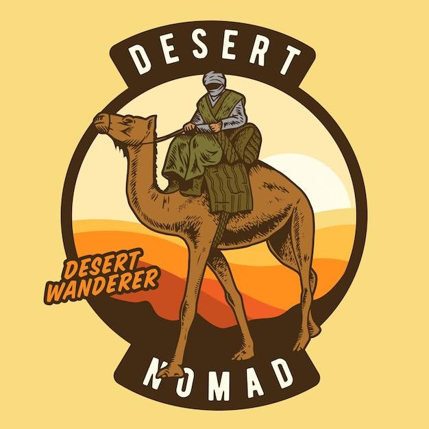 Der wüstenwanderer reitet kamel Premium Vektoren
