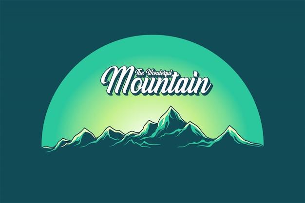 Der wunderbare bergvektor Premium Vektoren