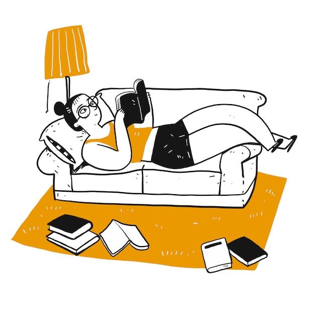 Der zeichnungscharakter der leute, die ein buch lesen. Premium Vektoren