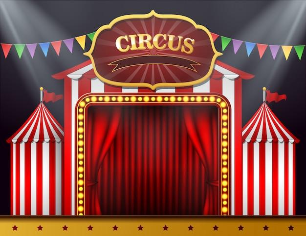 Der zirkus eingang mit einem roten vorhang geschlossen Premium Vektoren