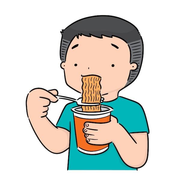 Des menschen essen nudeln Premium Vektoren