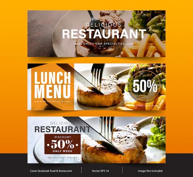 Design banner für soziale netzwerke, template facebook cover für werbung Premium Vektoren