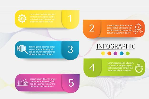 Design business vorlage 5 schritte infografik diagrammelement. Premium Vektoren