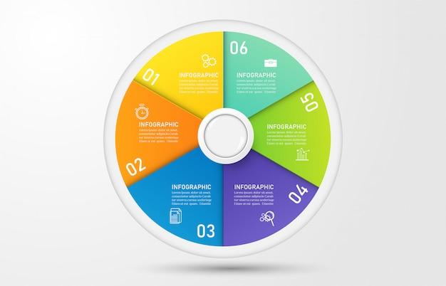 Design business vorlage 6 optionen infografik für präsentationen. Premium Vektoren