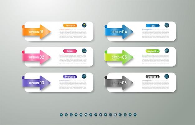 Design business vorlage 6 optionen oder schritte infografik diagrammelement. Premium Vektoren