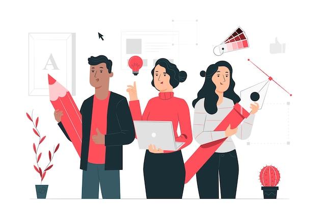 Design-community-konzept illustration Kostenlosen Vektoren