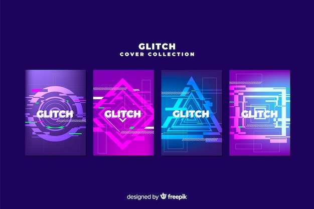 Design-cover mit buntem glitch-effekt Kostenlosen Vektoren