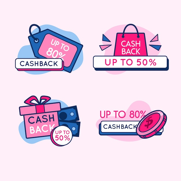 Design der cashback-etikettenkollektion Kostenlosen Vektoren
