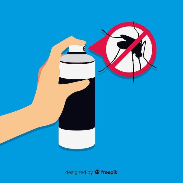 Design der hand, die mückenspray hält Kostenlosen Vektoren