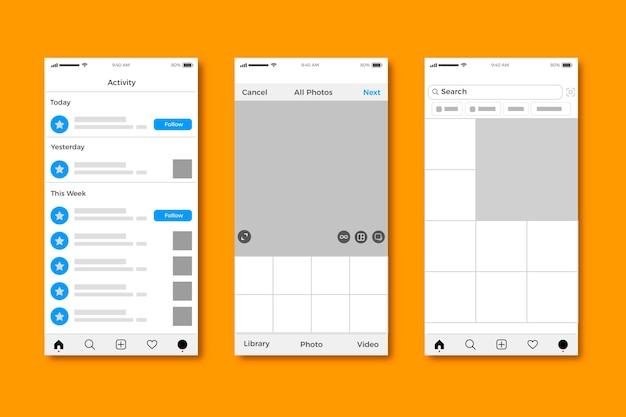 Design der instagram-profilschnittstellenvorlage Kostenlosen Vektoren