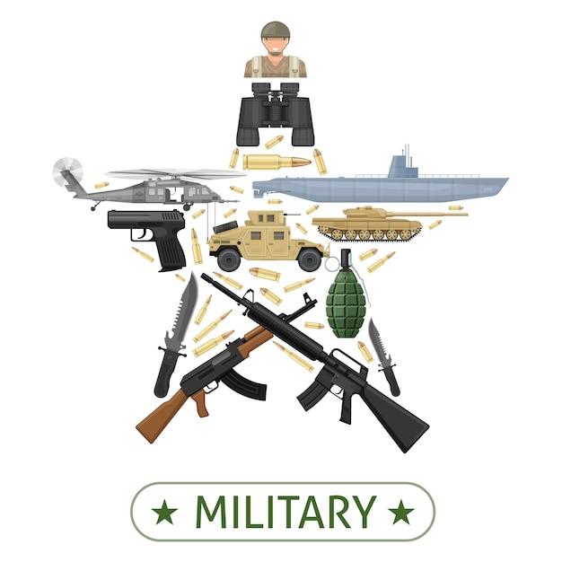 Design der militärischen ausrüstung in sternform mit waffenmunition für kampffahrzeuge Premium Vektoren