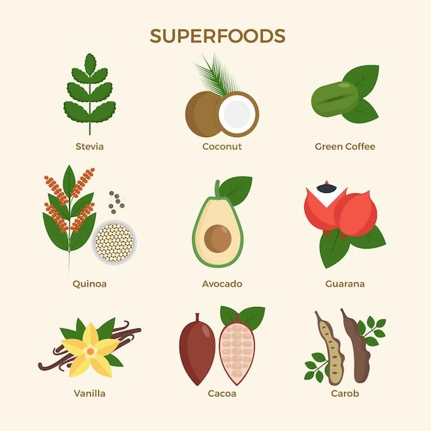 Design der superfood-kollektion Kostenlosen Vektoren