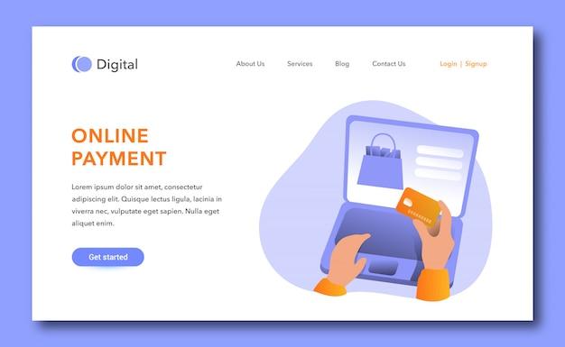 Design der zielseite für die online-zahlung Premium Vektoren