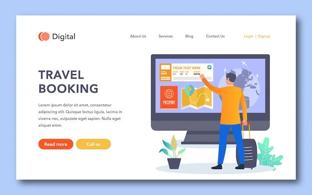 Design der zielseite für reisebuchungen Premium Vektoren