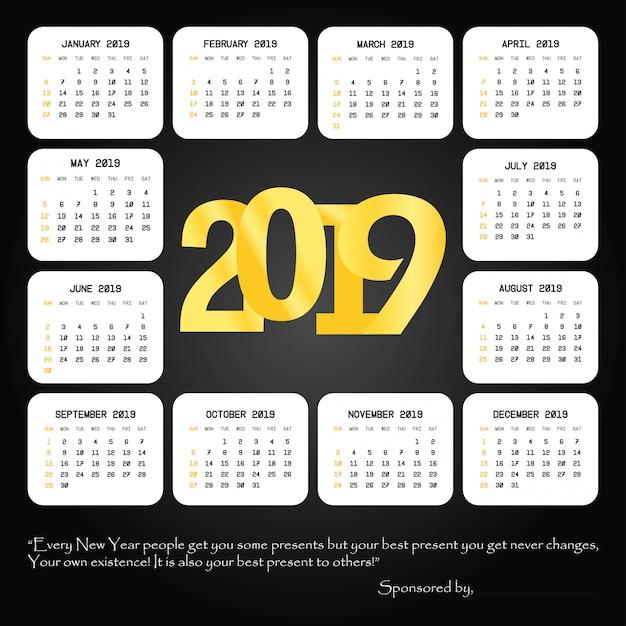 Design des kalenders 2019 mit schwarzem hintergrundvektor Kostenlosen Vektoren