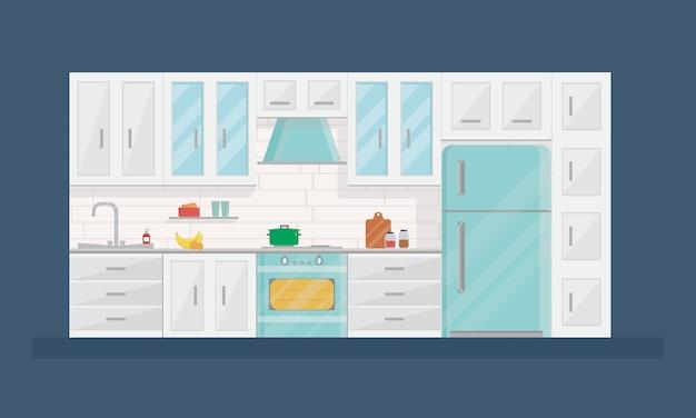 Design des modernen kücheninnenraums in der flachen art Premium Vektoren