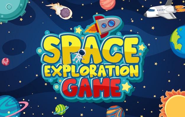 Design eines weltraumforschungsspiels mit planeten in der galaxie Premium Vektoren