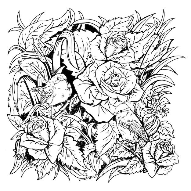 Design gezeichneter schwarzweiss-illustrationsvogel und rose in naturprämie Premium Vektoren