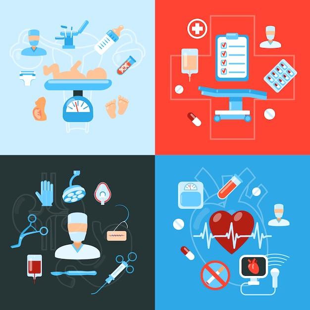 Design-konzept der medizinischen ikonen der chirurgie Kostenlosen Vektoren