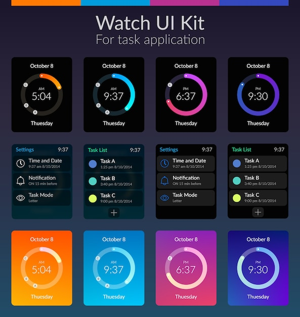 Design-konzept des mobilen uhr-ui-kits mit flacher illustration der farben Kostenlosen Vektoren