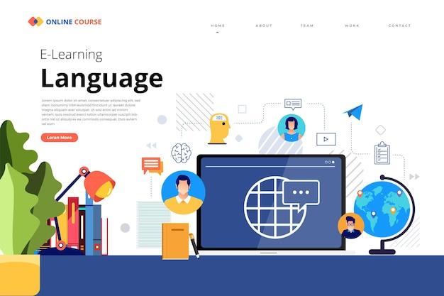 Design landing page website bildung online-kurssprache Premium Vektoren