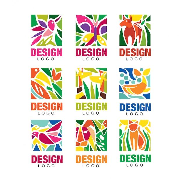 Design lodo set, etiketten mit pflanzen, vögeln und tieren, tropische umweltzeichen, design emblem elemente illustrationen Premium Vektoren