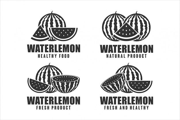 Design-logo-sammlung für gesunde lebensmittel der wassermelone Premium Vektoren