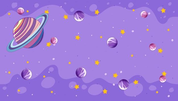 Design mit planeten auf lila Kostenlosen Vektoren