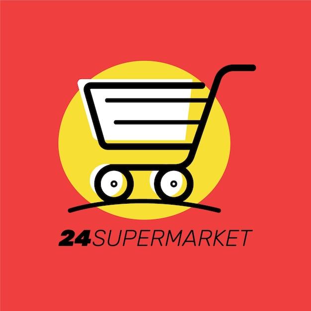 Design mit wagen für supermarktlogo Kostenlosen Vektoren