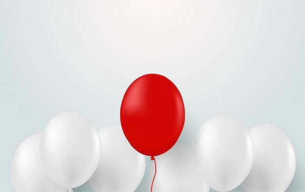 Design mit weißem ballon und roten ballons. Premium Vektoren
