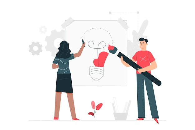 Design-prozess-konzept-illustration Kostenlosen Vektoren
