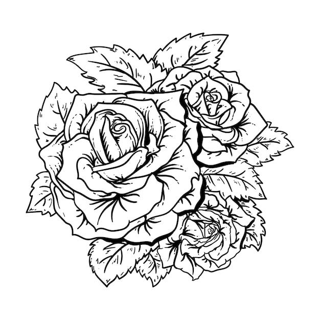 Design schwarz und weiß handgezeichnete illustration rosen premium Premium Vektoren
