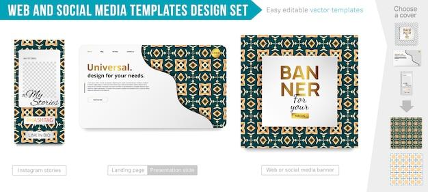 Design-set für web- und social media-vorlagen Premium Vektoren