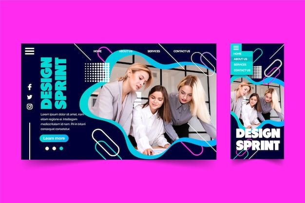 Design-sprint mit der zielseite einer gruppe von personen Kostenlosen Vektoren