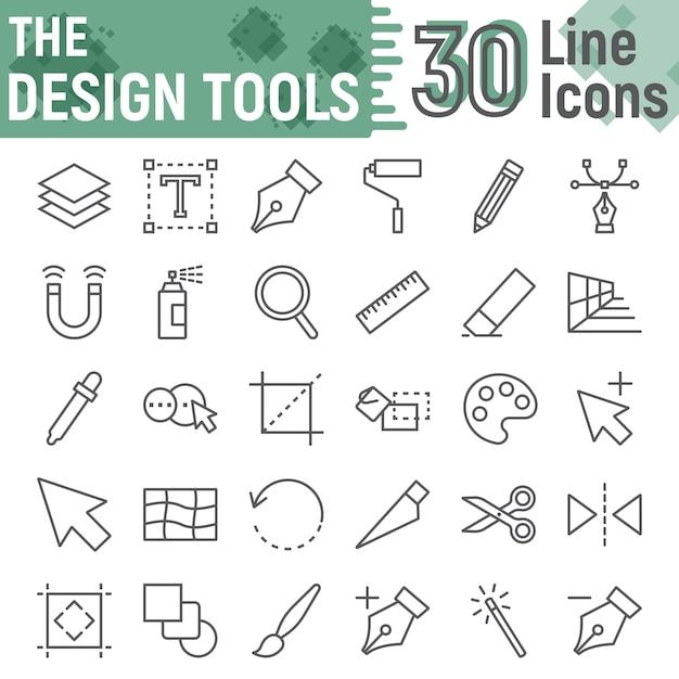 Design-tools linie icon set, grafikdesign zeichen sammlung Premium Vektoren